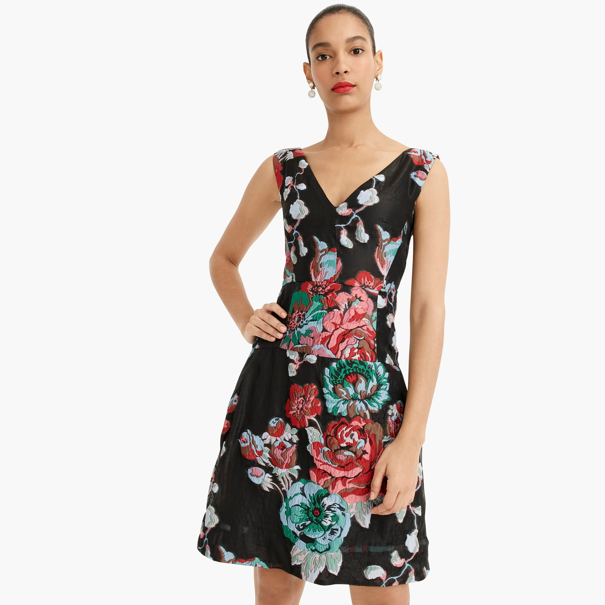 womens Collection A-line dress in Ratti® garden floral jacquard