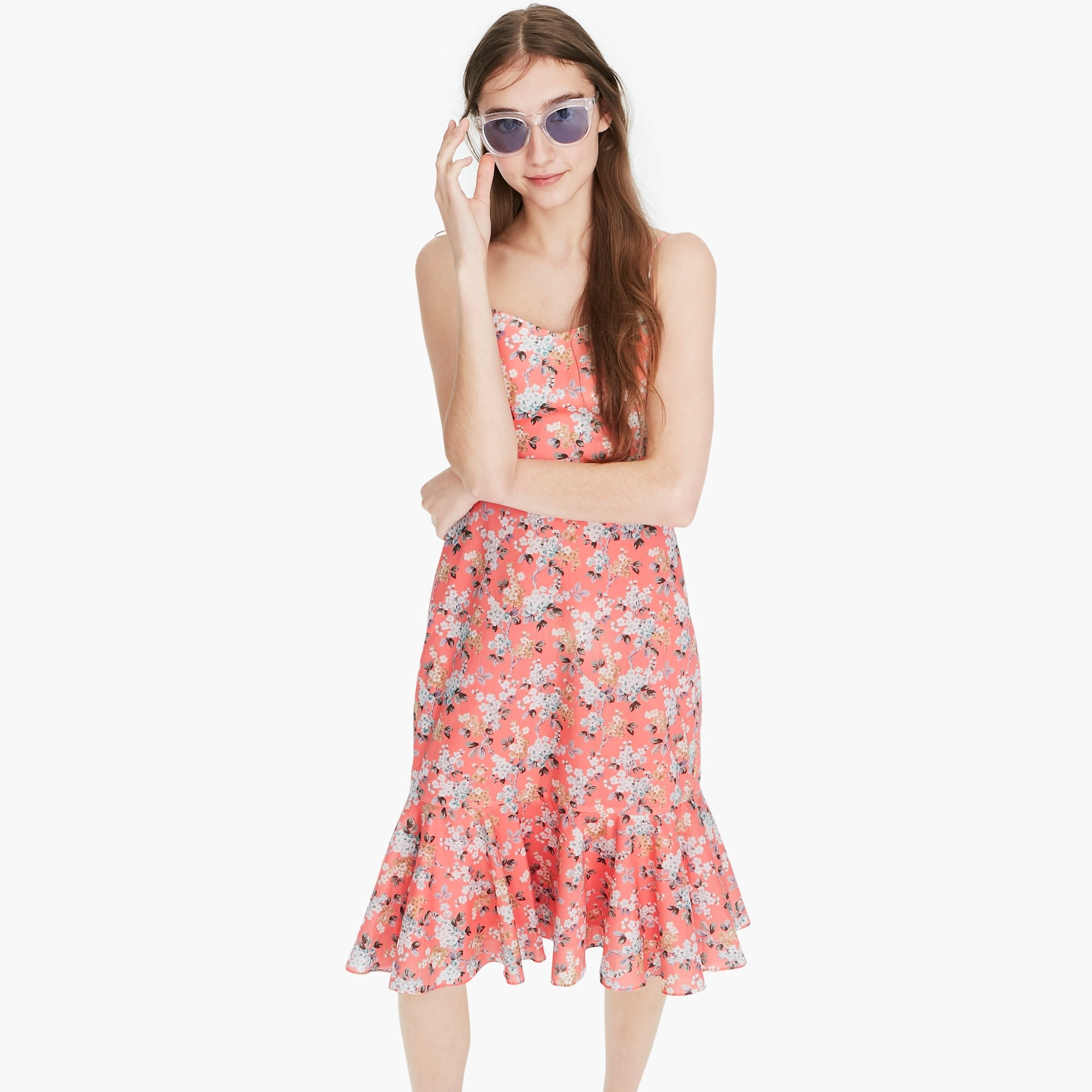 Ruffle-hem midi dress in Liberty® Josephine floral