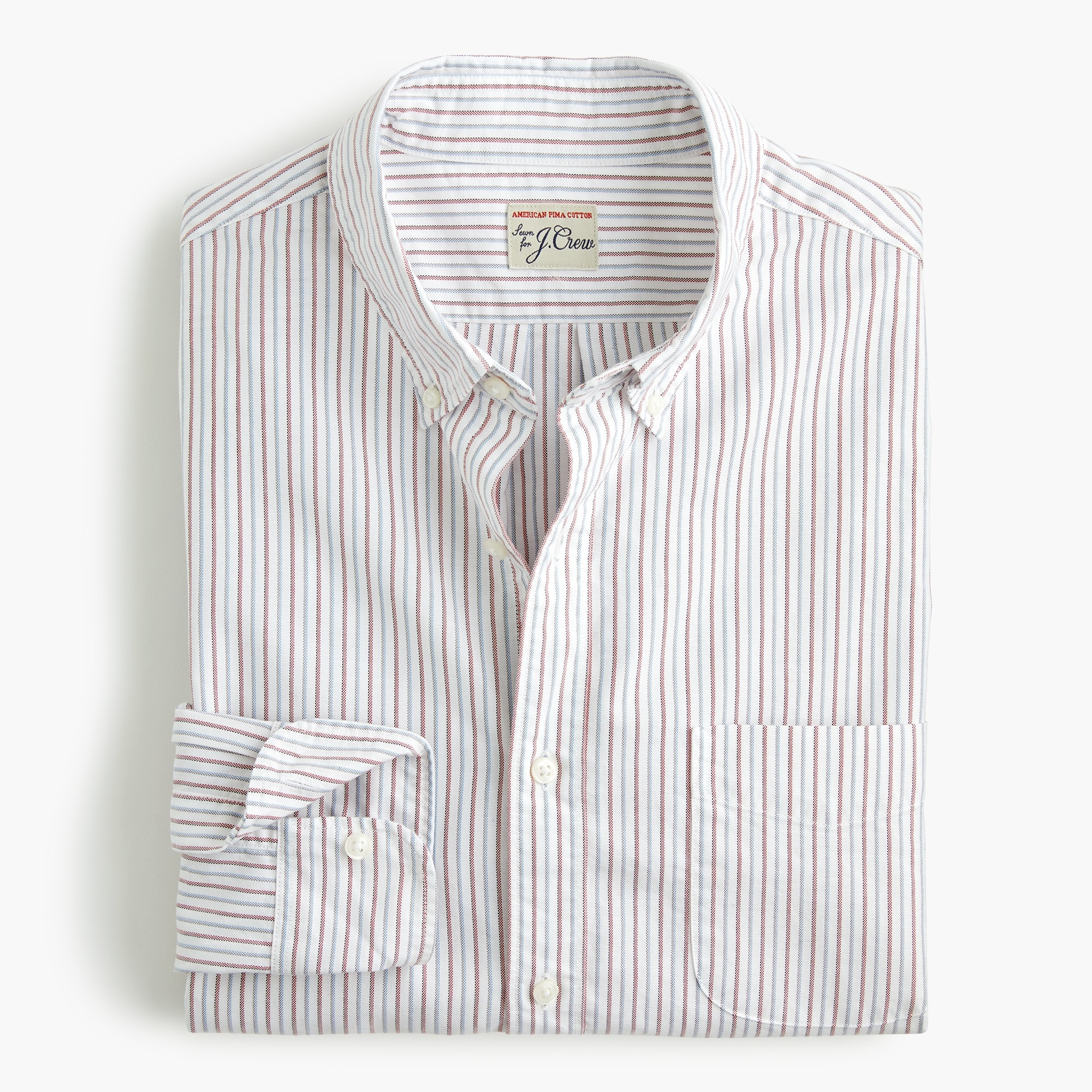 mens Slim American Pima cotton oxford shirt with mechanical stretch in multistripe