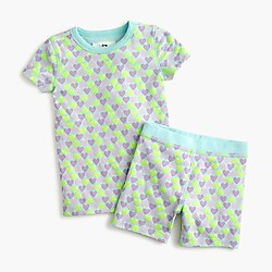 Girls' short pajama set in hearts