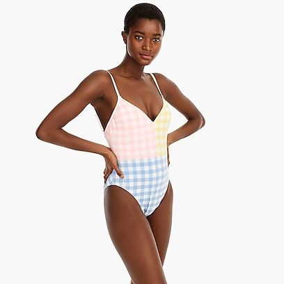 5808b99788 womens Deep V-neck one-piece swimsuit in colorblock matte gingham