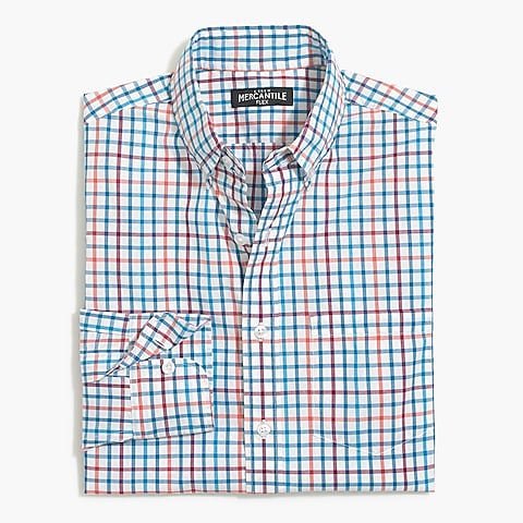 factory mens Tattersall slim flex casual shirt
