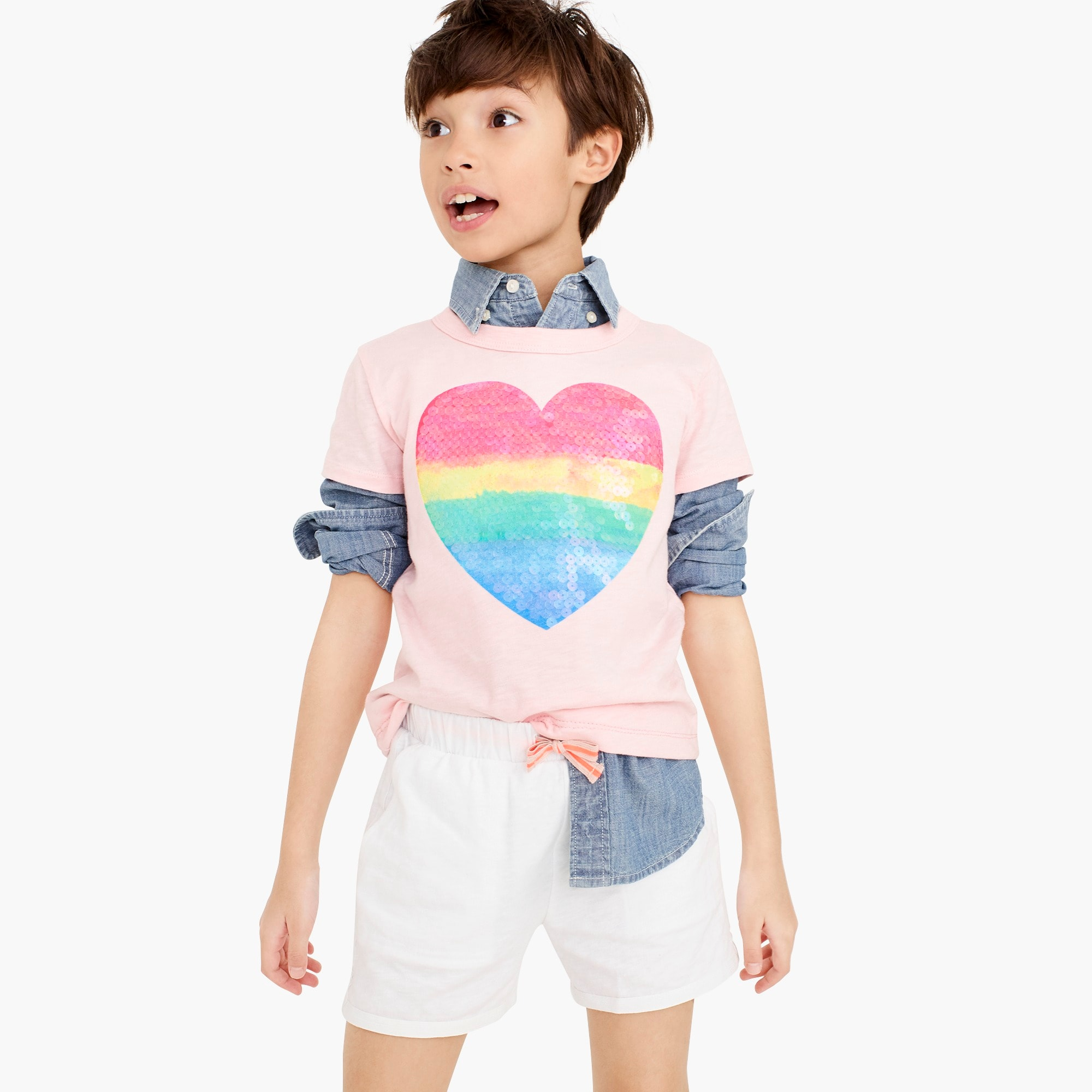 girls Girls' sequin rainbow heart T-shirt