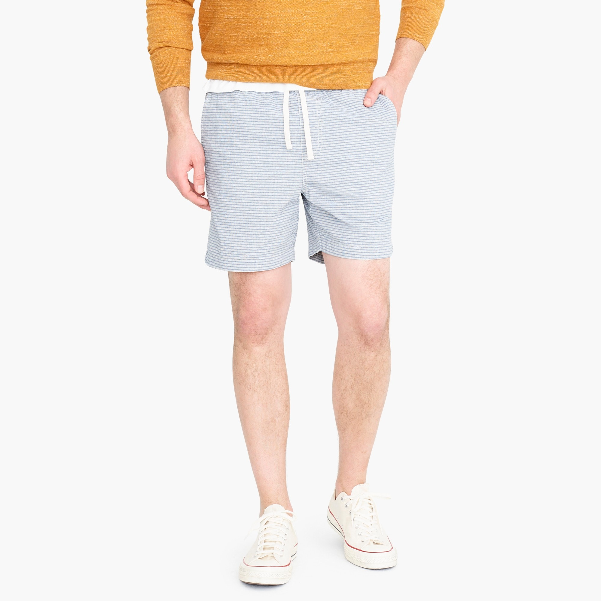 mens Dock shorts in indigo stripe dobby