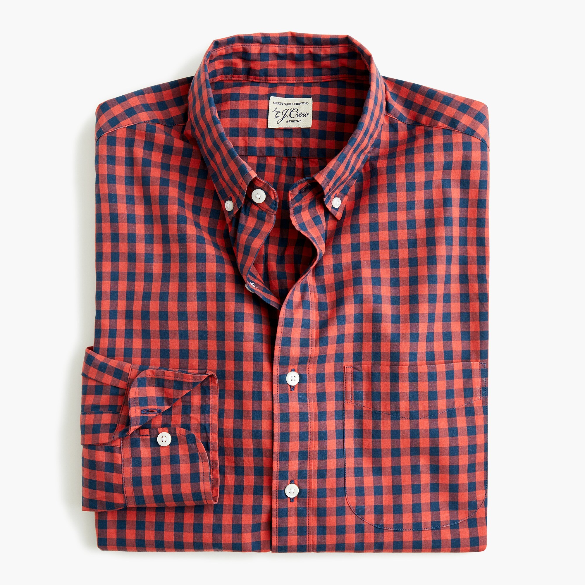 Stretch Secret Wash shirt in primary gingham