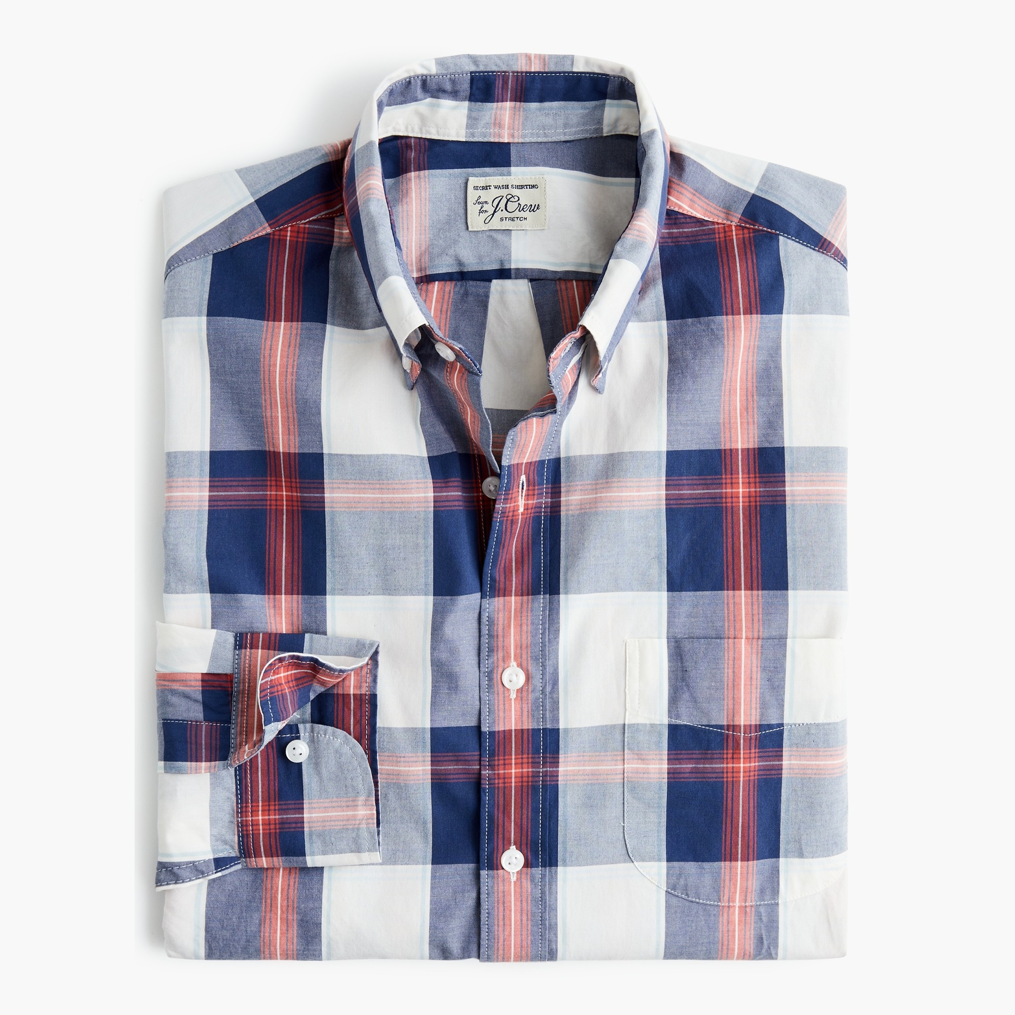 mens Slim stretch Secret Wash shirt in tricolor plaid