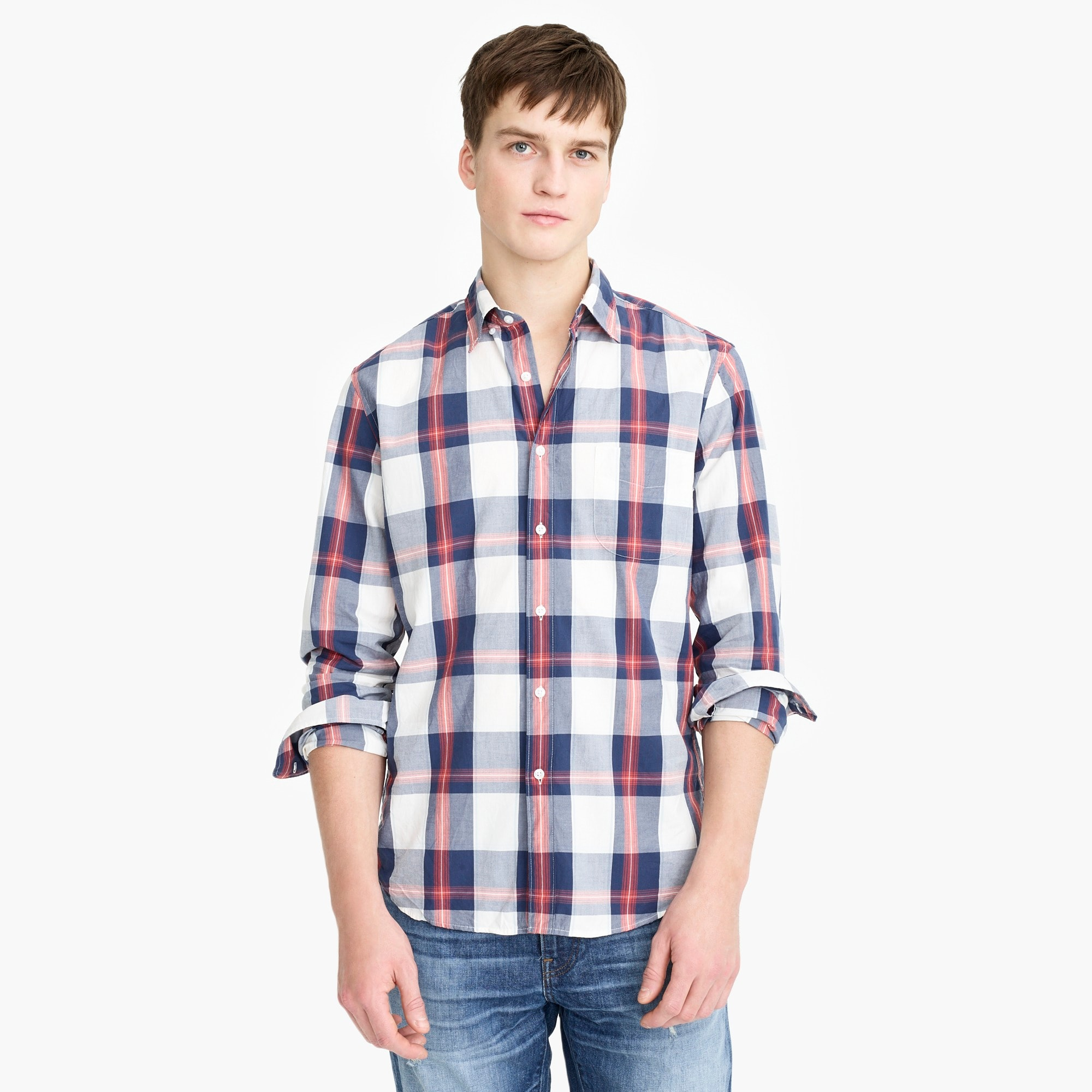 Untucked stretch Secret Wash shirt in tricolor plaid