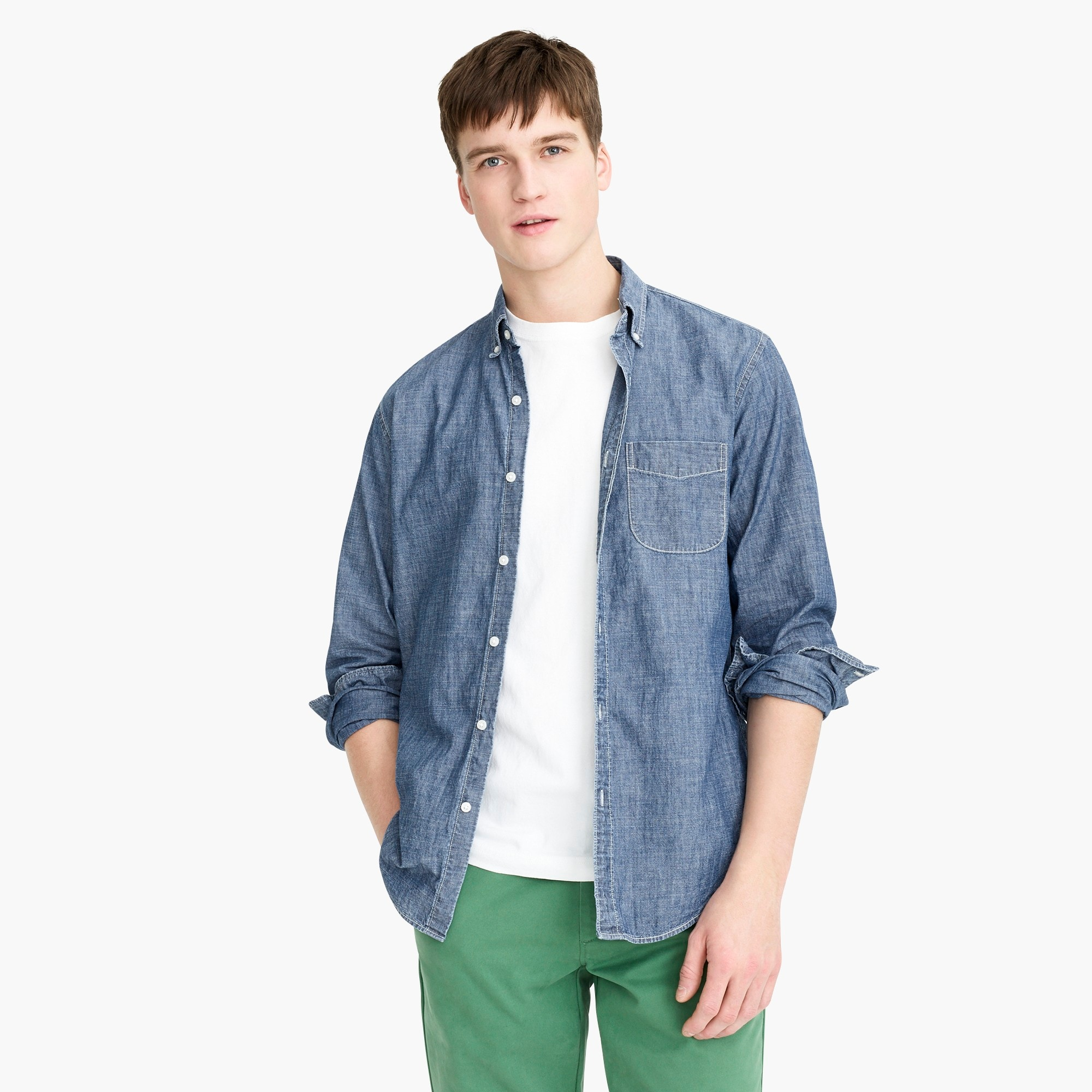 Untucked one-pocket chambray shirt in dark wash