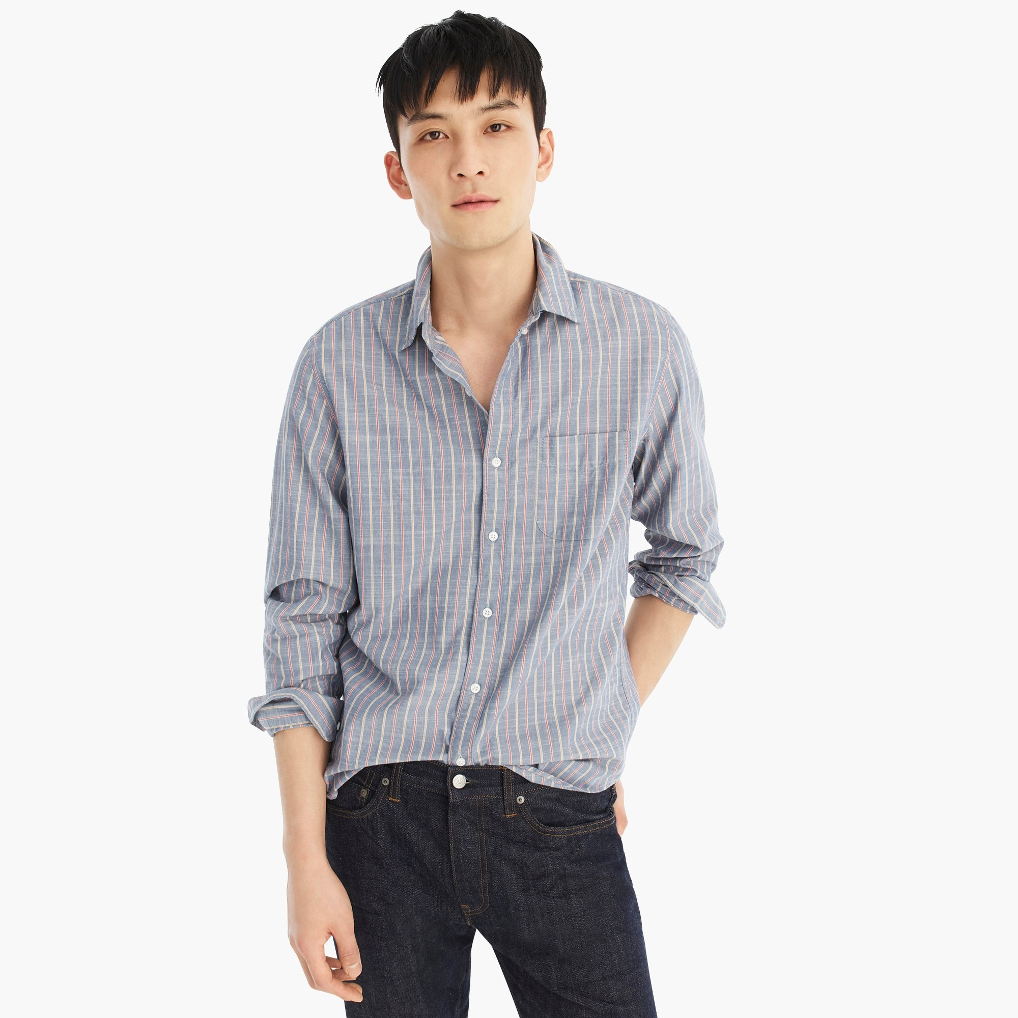 Untucked chambray shirt in stripe