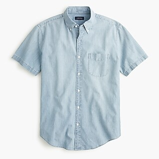 Short-sleeve shirt in chambray