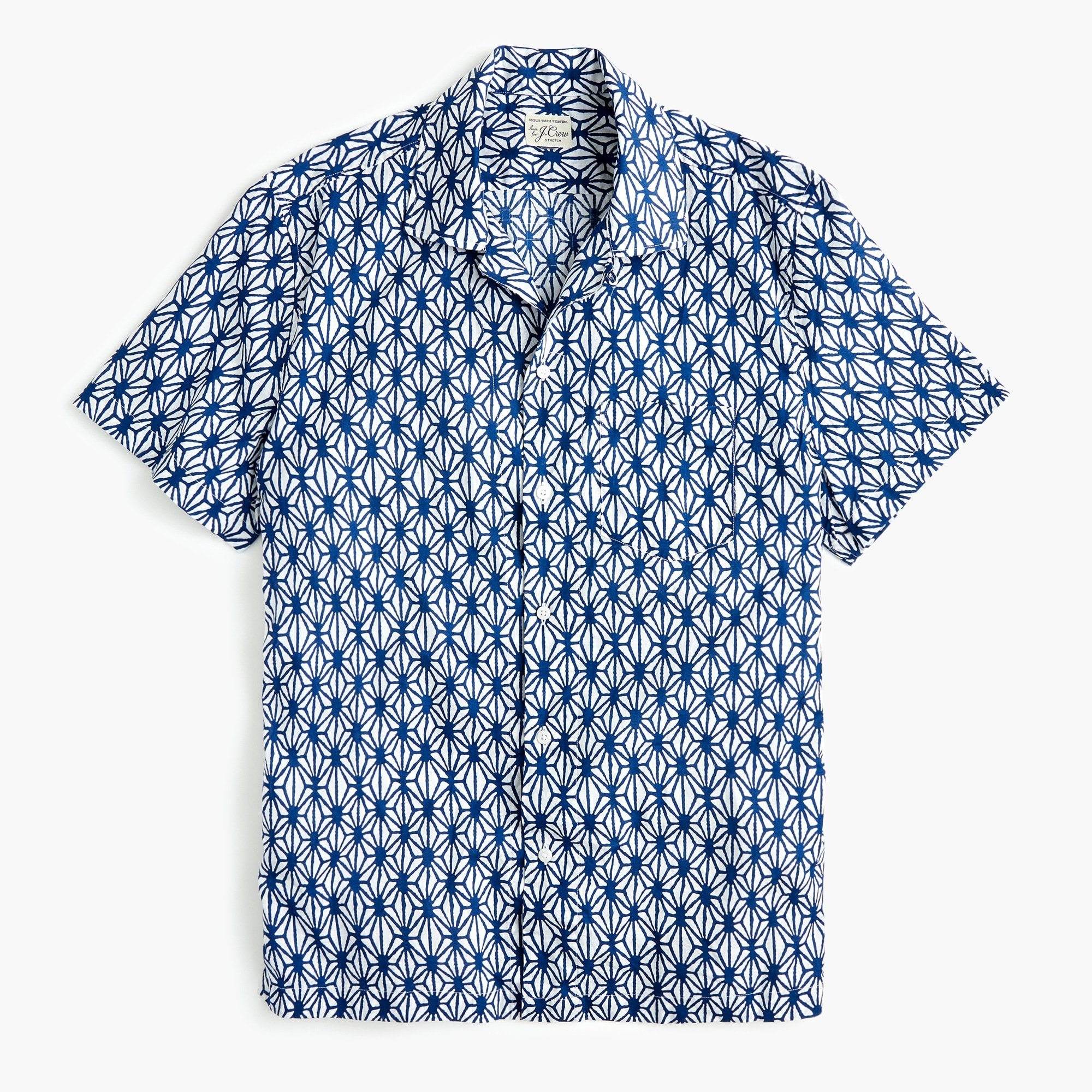 mens Short-sleeve printed camp-collar shirt in slub cotton
