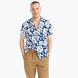 Short-sleeve printed camp-collar shirt in slub cotton
