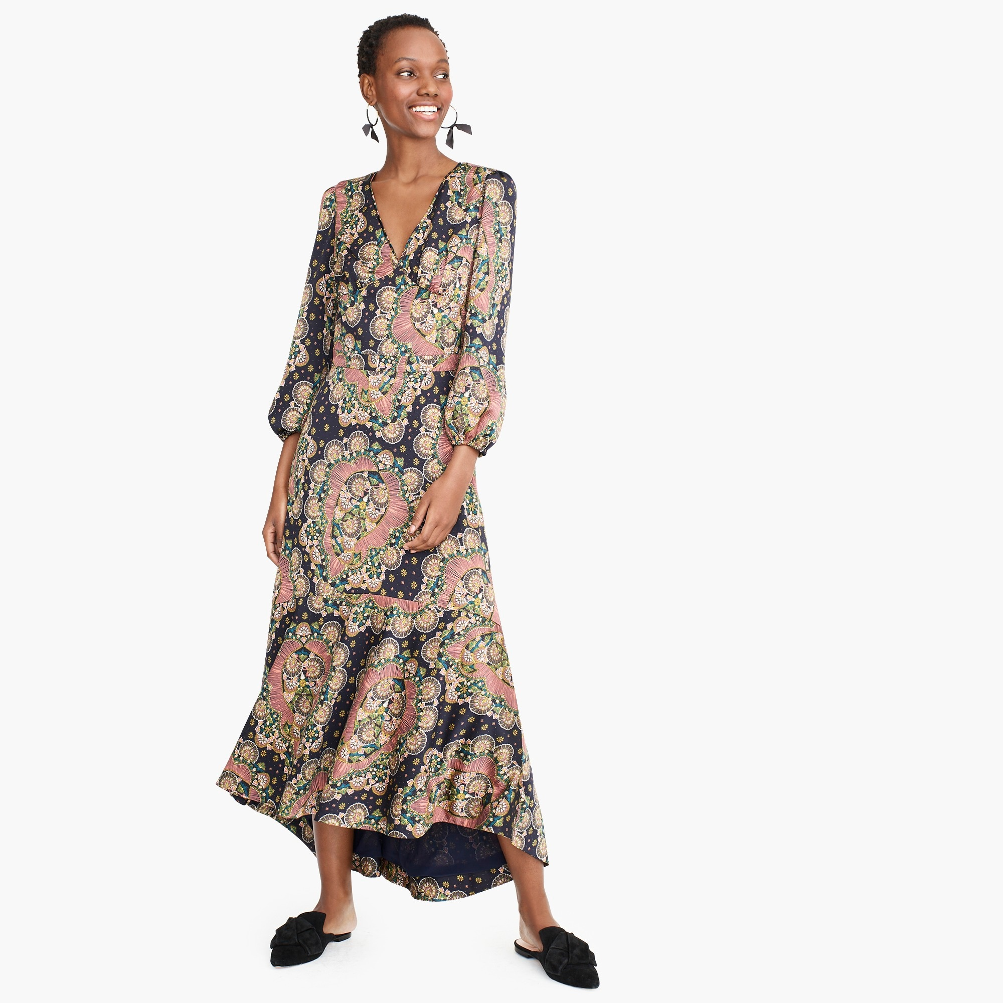 womens Point Sur long-sleeve paisley dress in satin-back crepe