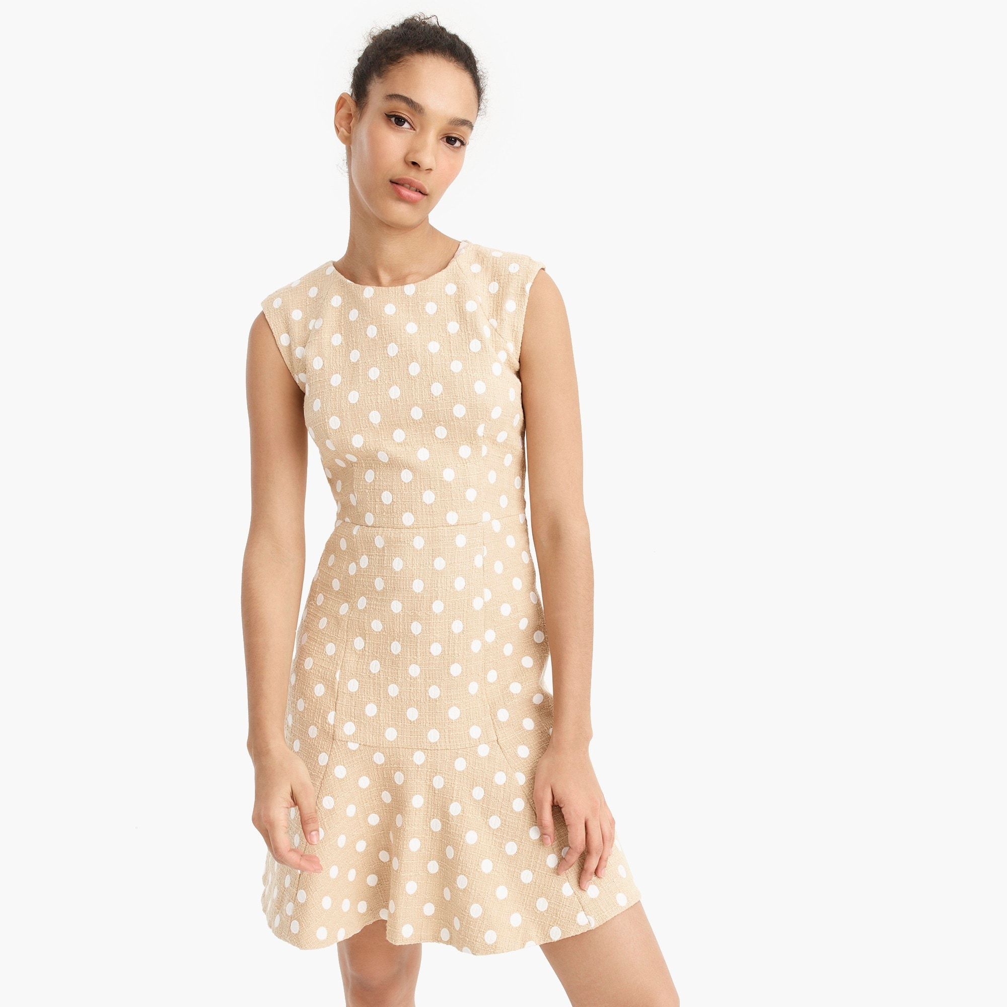 A-line dress in polka-dot embroidered tweed with fluted hem