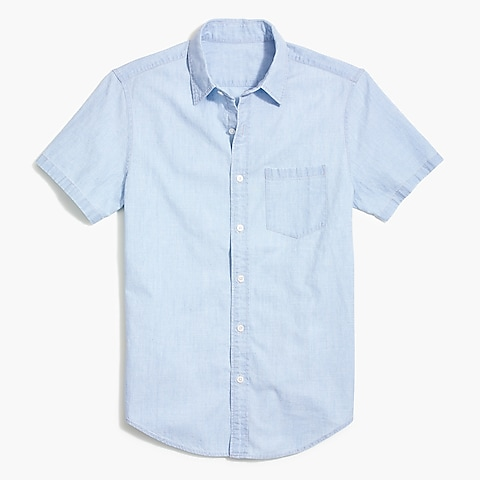 factory mens Solid slim casual short sleeve chambray shirt
