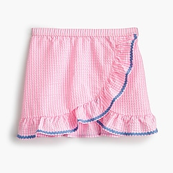 Girls' ruffle swim skirt in seersucker