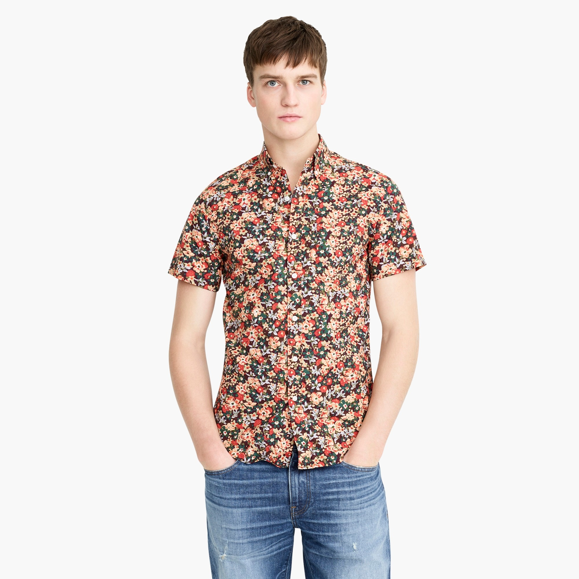 mens Short-sleeve Secret Wash shirt in Springfield floral