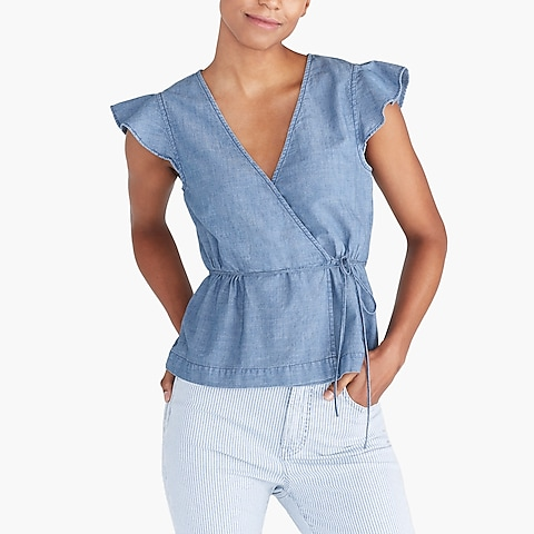 Flutter-sleeve faux-wrap top in chambray