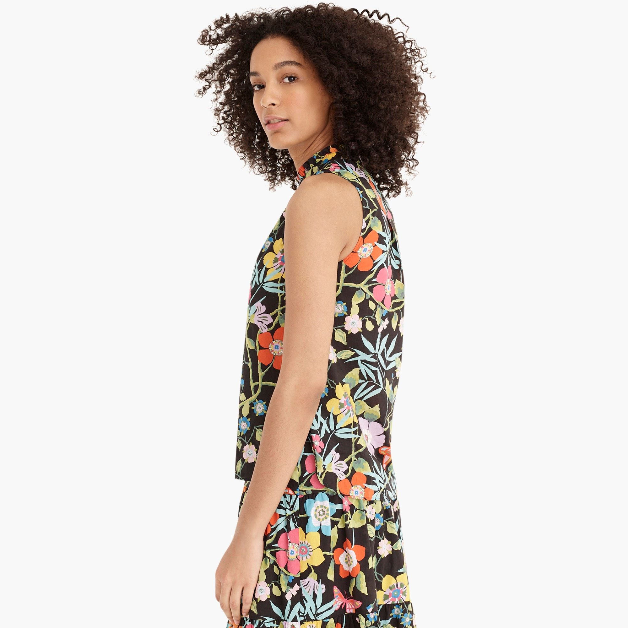 Ruffle-neck top in Liberty® Pavilion black floral
