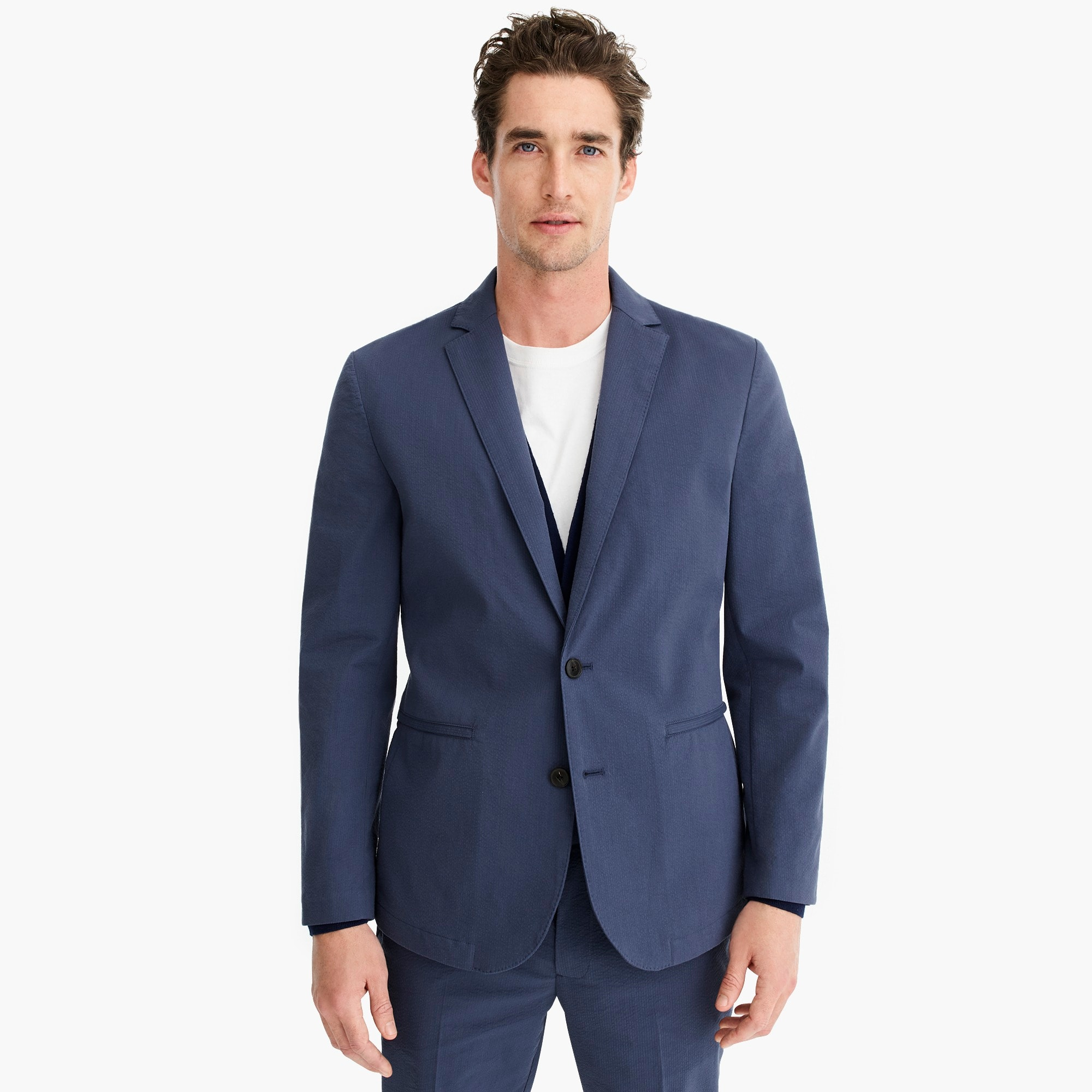 mens Slim-fit suit jacket in seersucker with COOLMAX® technology