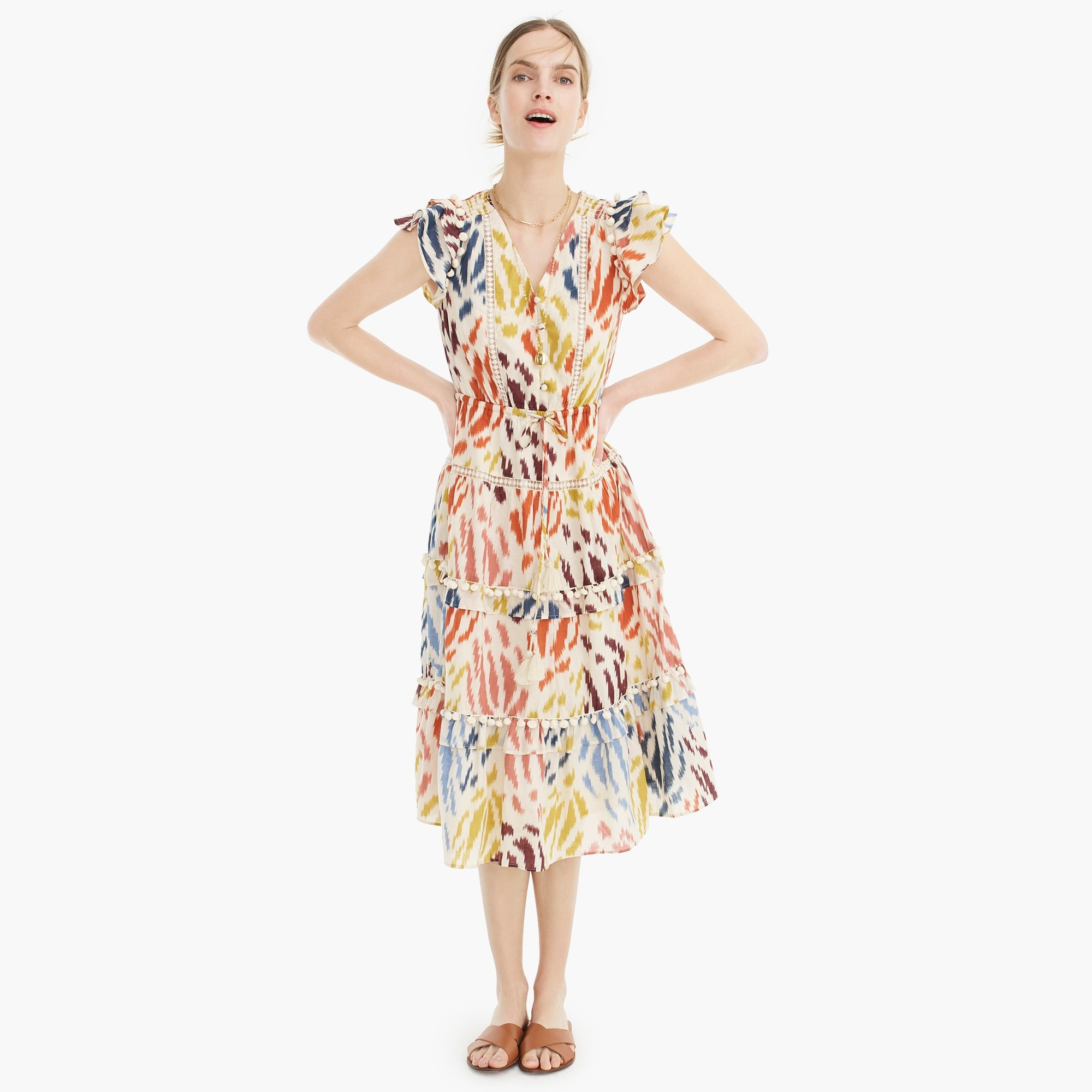 Point Sur flutter-sleeve midi dress in Ratti® print cotton voile