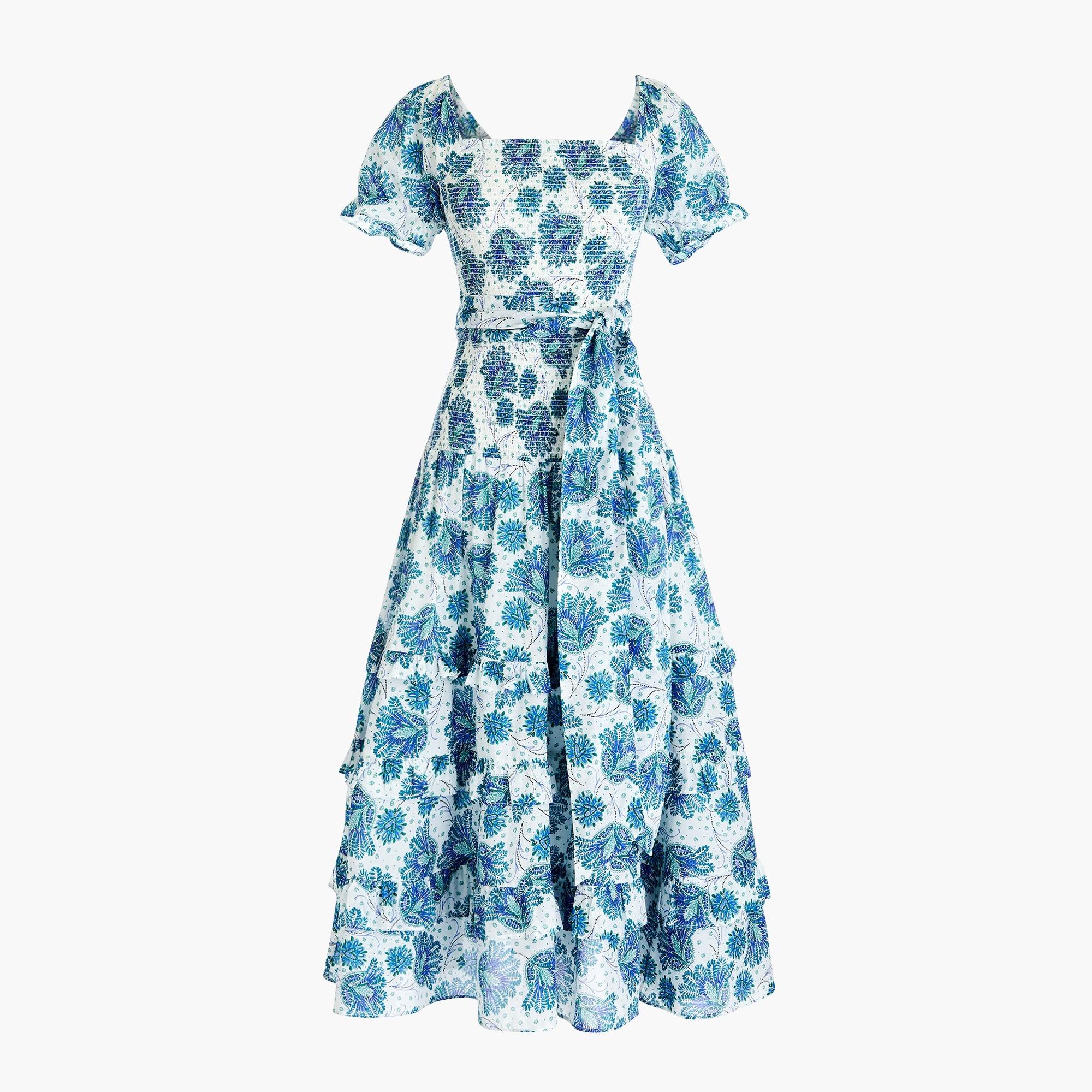 Smocked prairie midi dress in floral cotton voile
