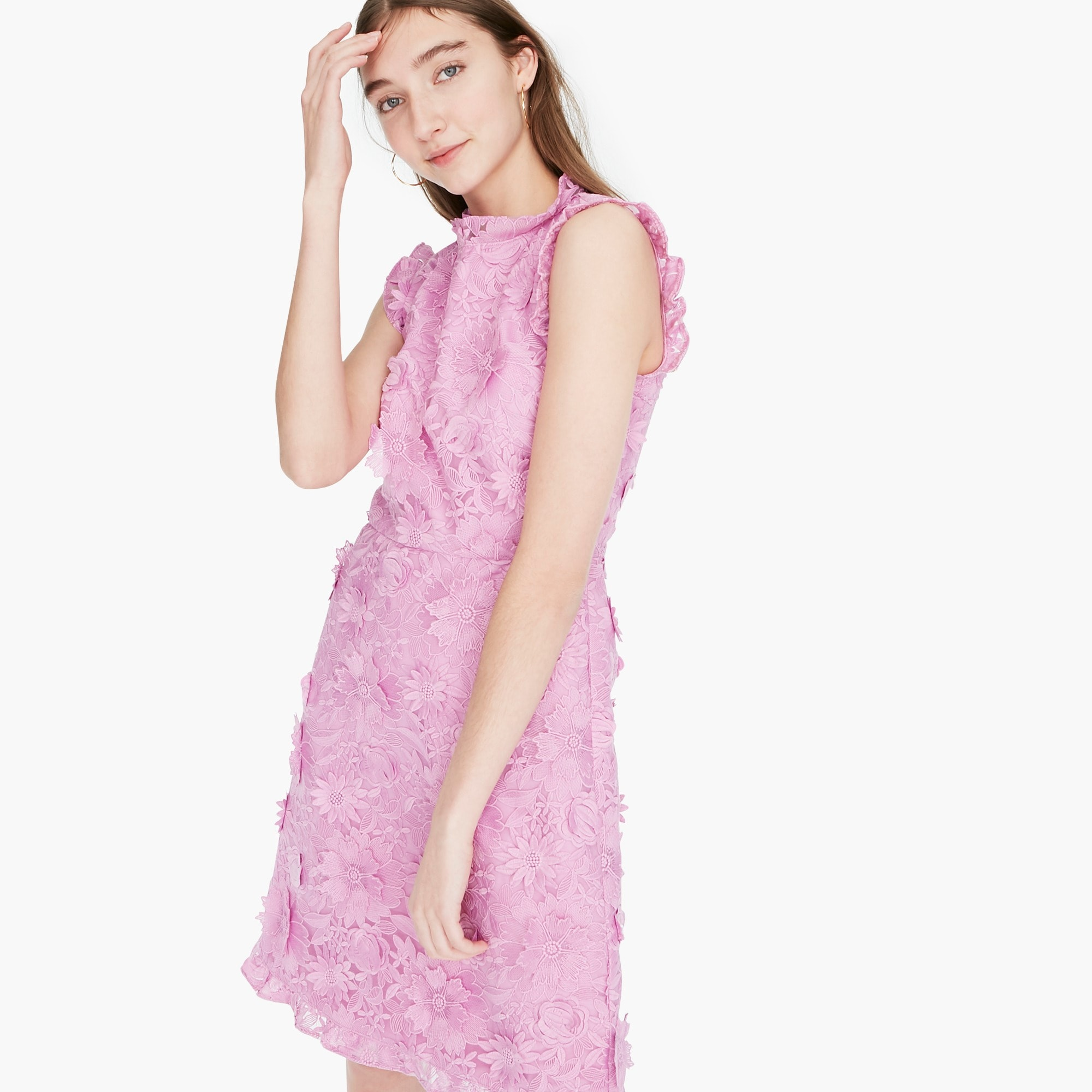 A-line dress with lace floral appliqués