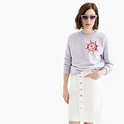 Petite button-front stretch pencil skirt in white denim