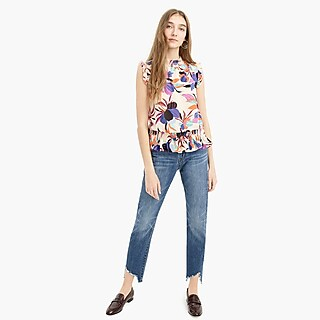 eea582d88aed21 Sleeveless mockneck top in tropical floral - Women s Shirts
