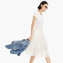 Midi skirt in allover eyelet