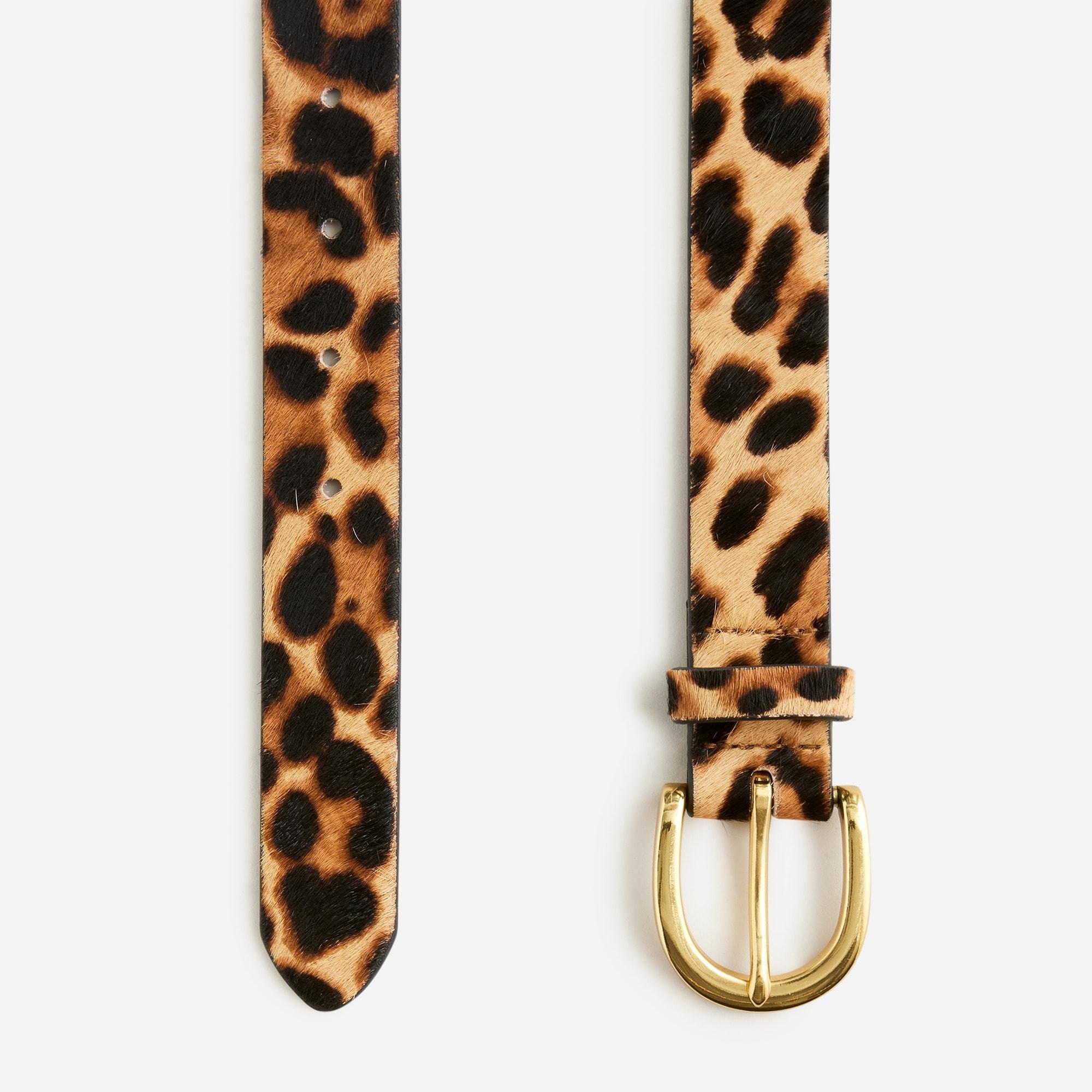 Calf hair belt in leopard