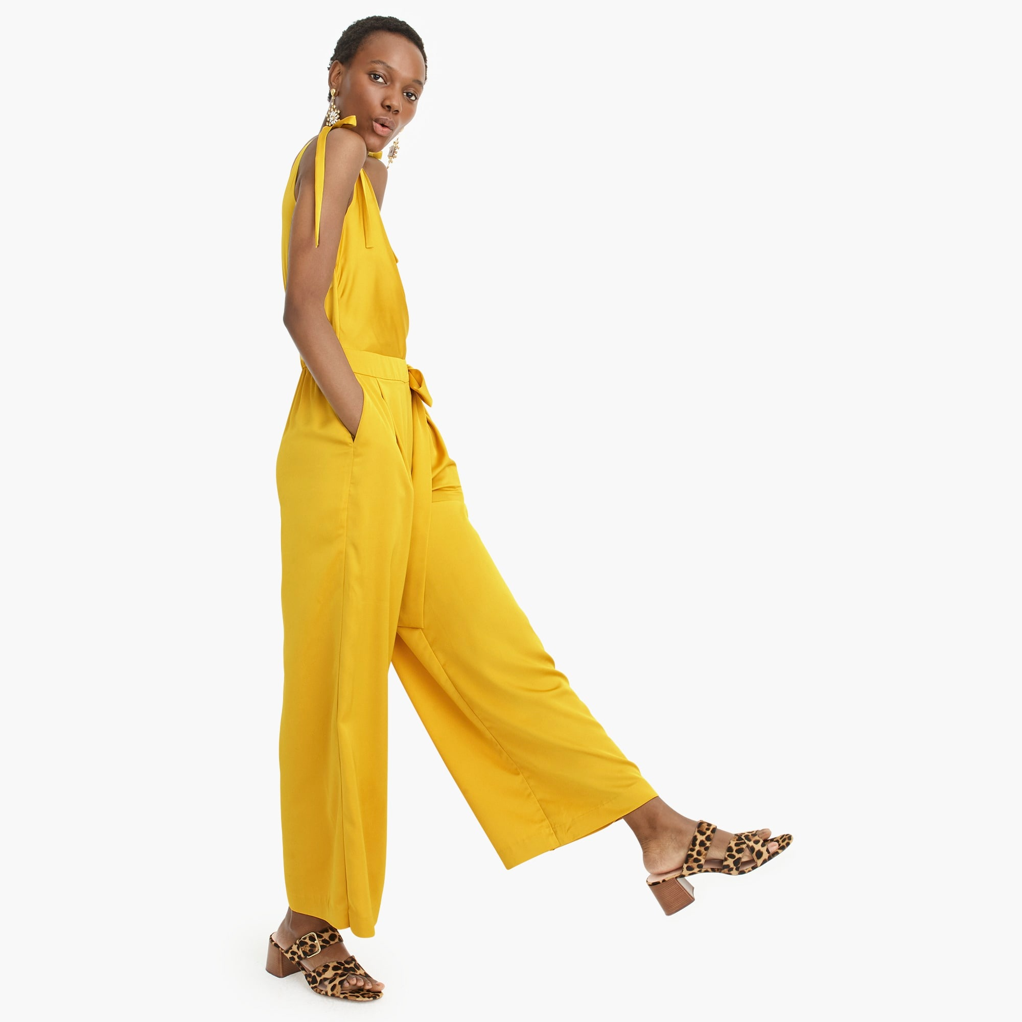 Collection wide-leg jumpsuit in satin-crepe