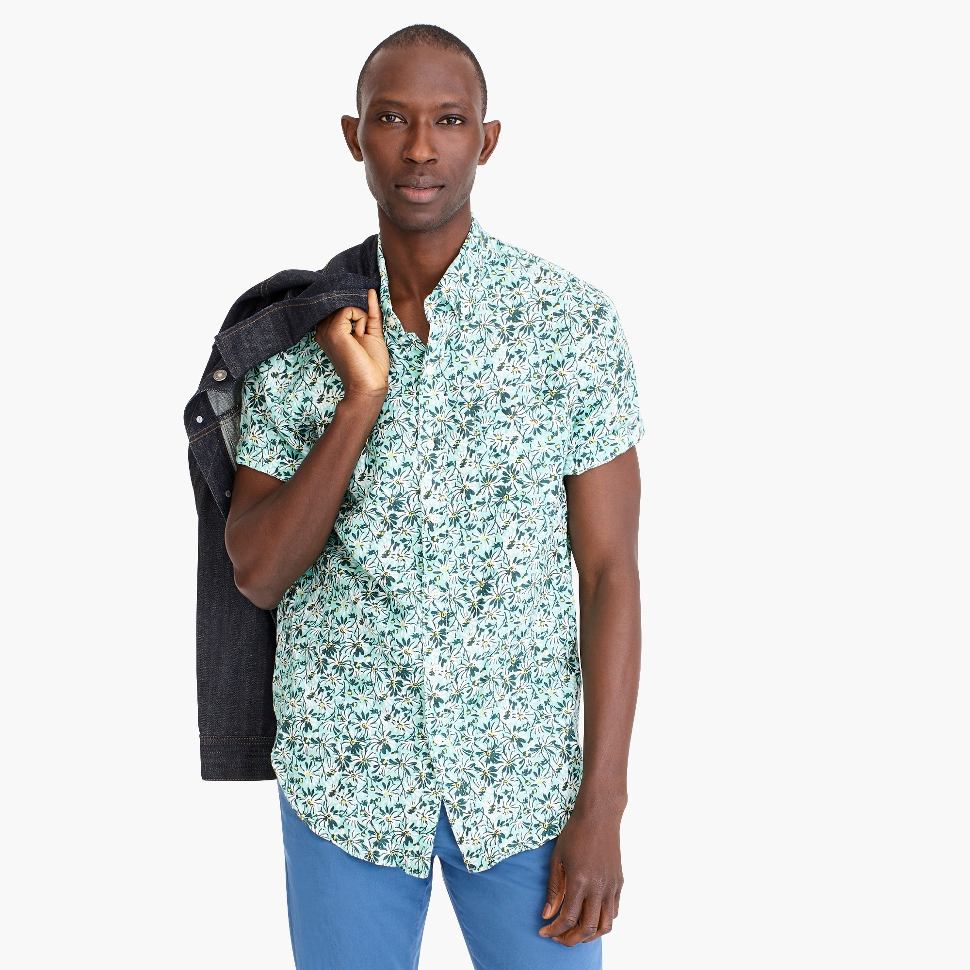 mens Short-sleeve linen shirt in aqua floral print