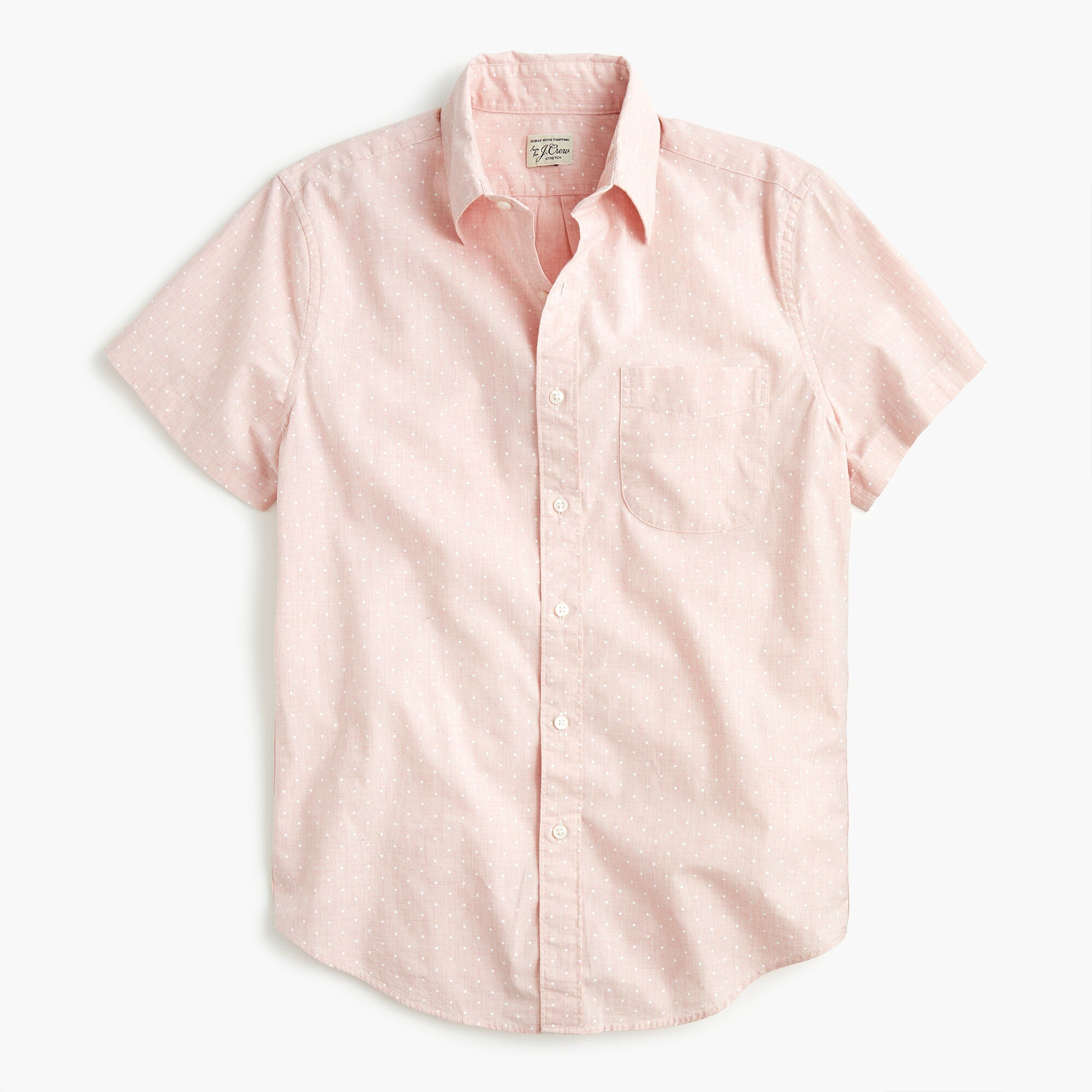 mens Stretch Secret Wash shirt in tiny dot print