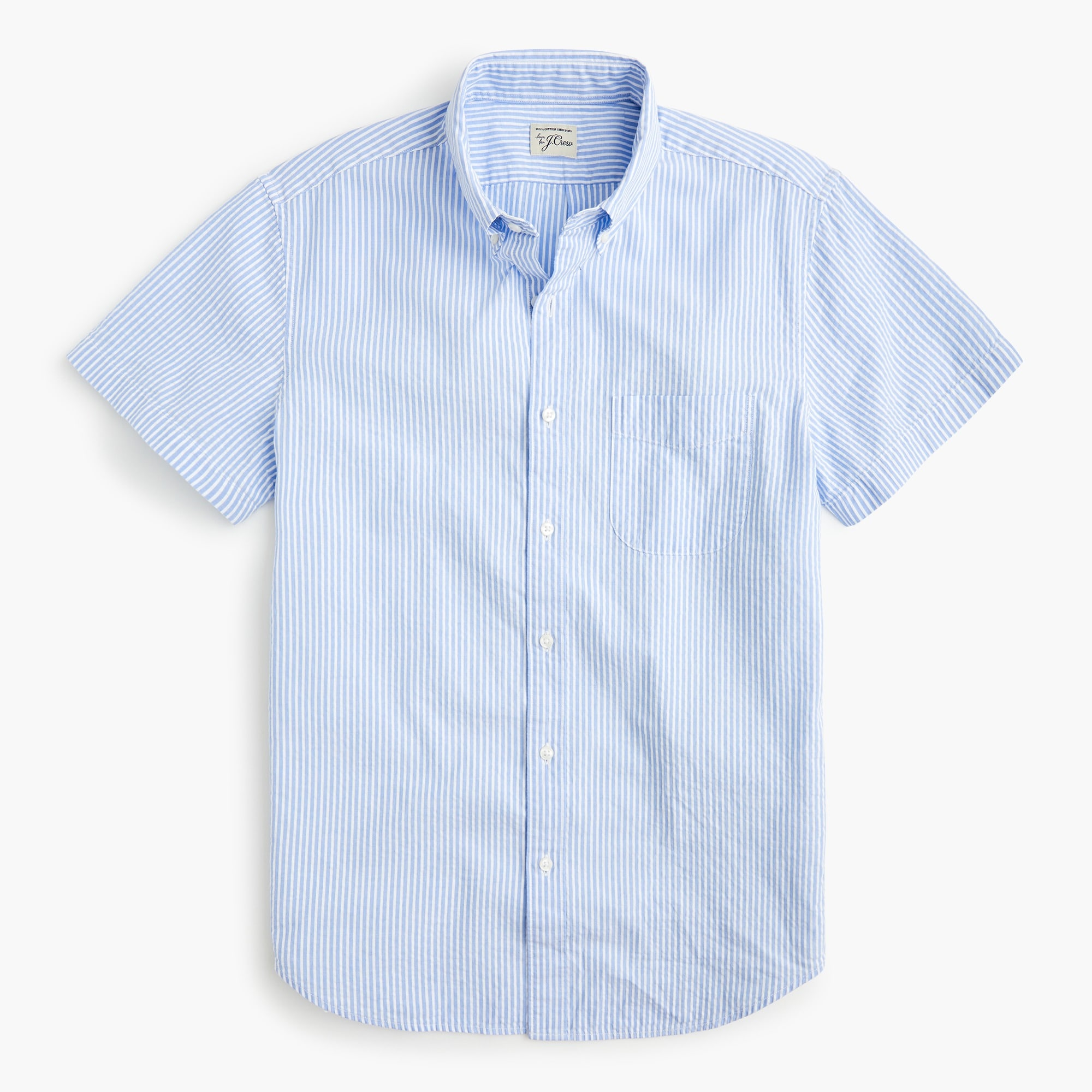mens Short-sleeve seersucker shirt in striped organic cotton