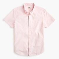 Short-sleeve seersucker shirt in striped organic cotton