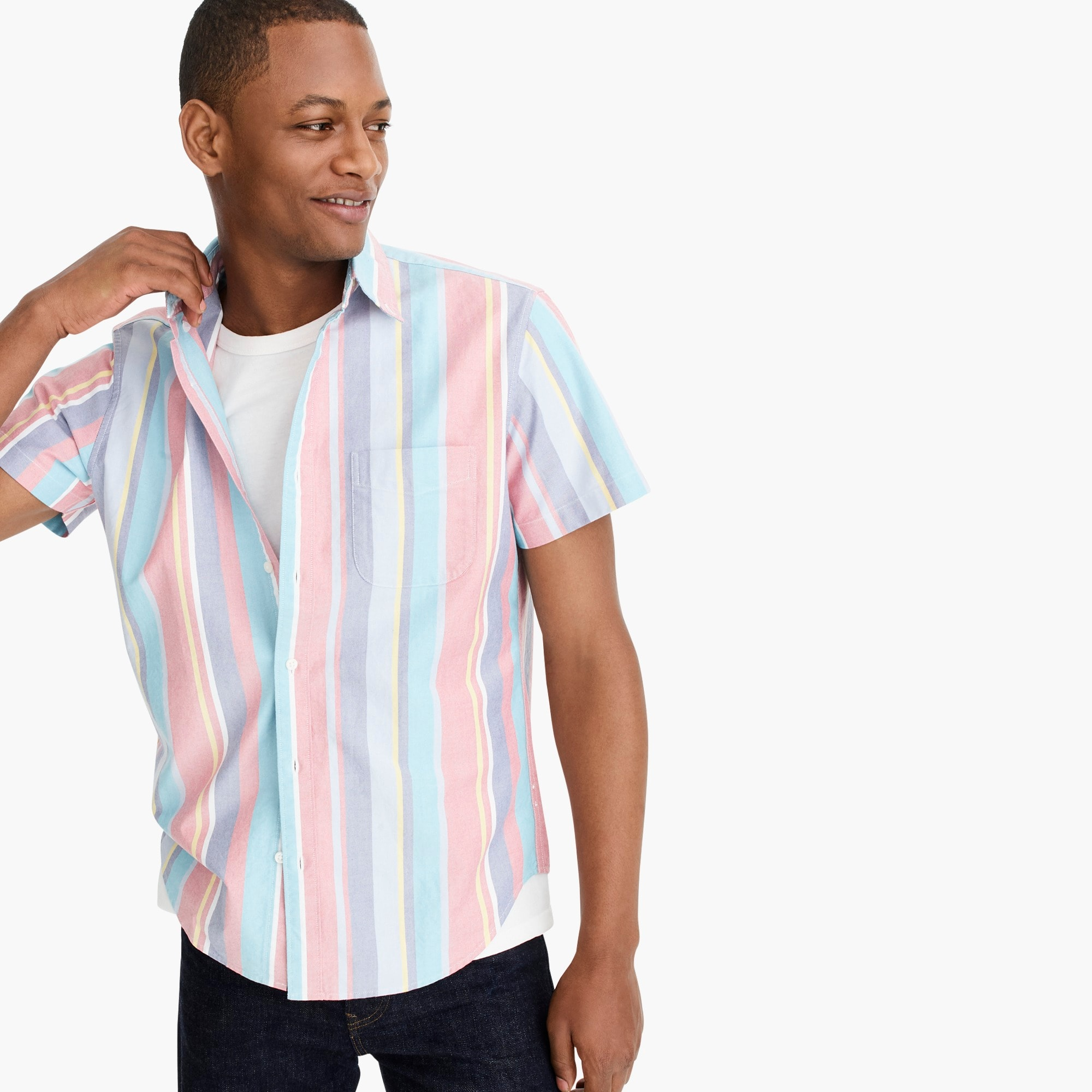 mens Stretch short-sleeve multicolor American Pima cotton oxford shirt