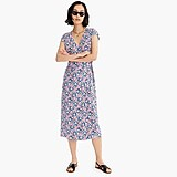Midi wrap dress in soft rayon pink-and-blue flowers