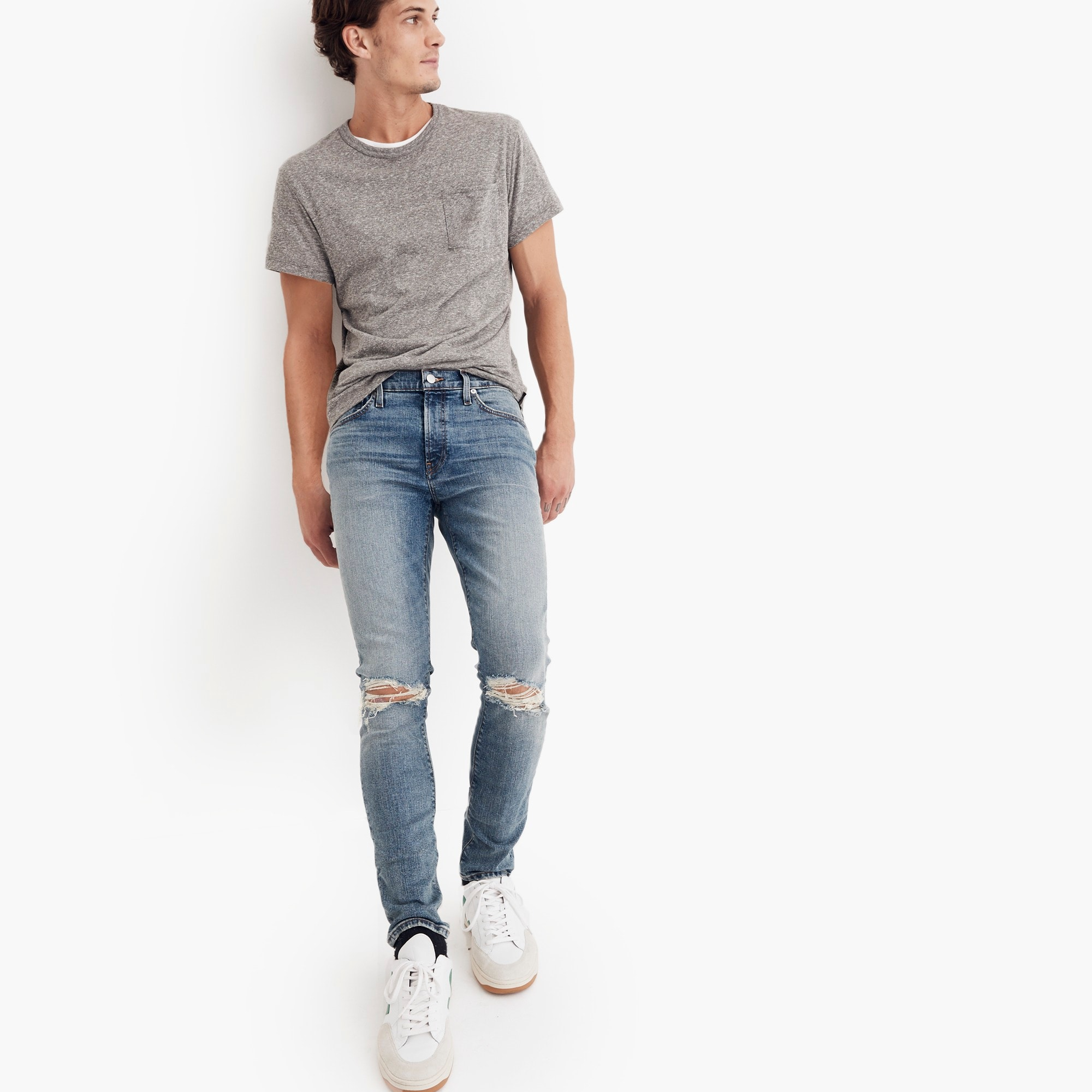 mens Madewell skinny jeans in vintage light with rips