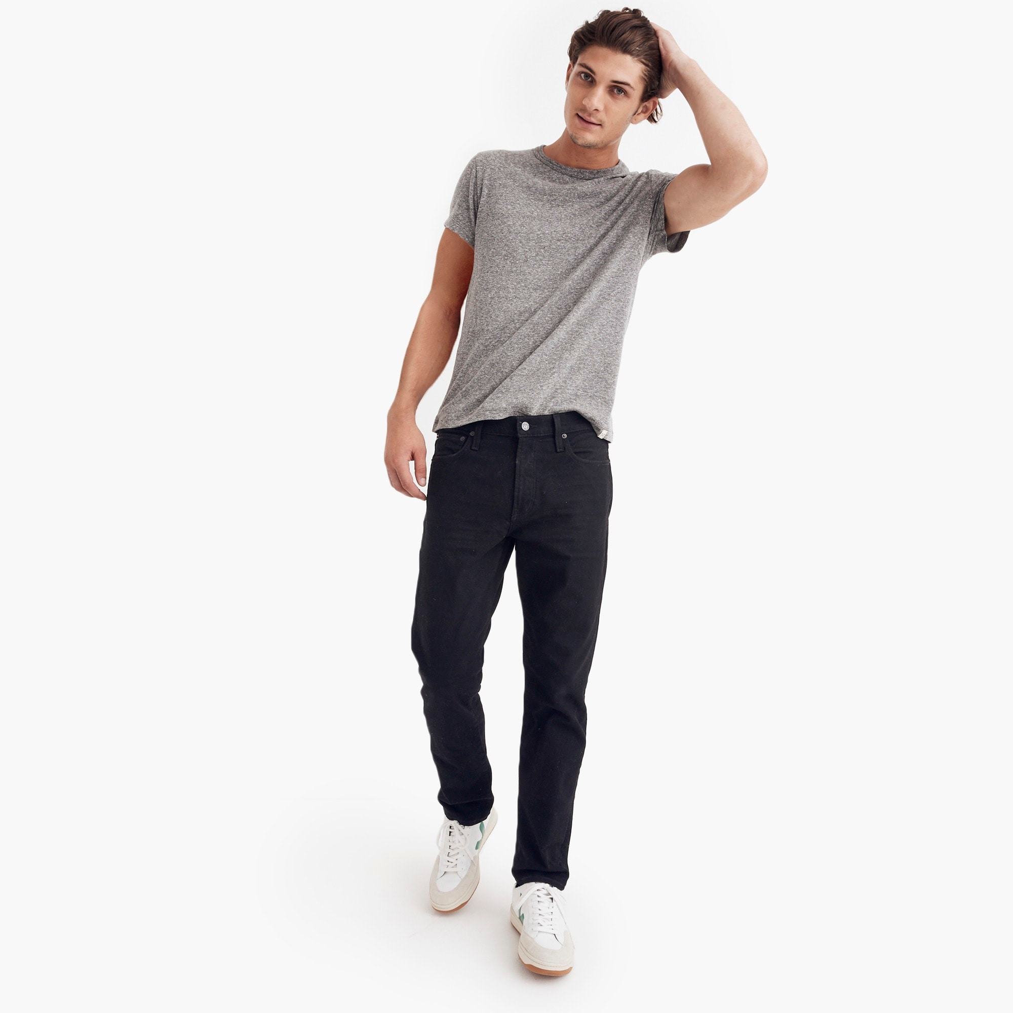 mens Madewell straight jeans in saturated black