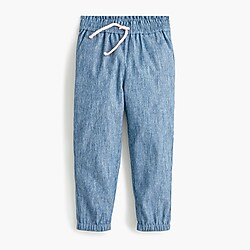 Girls' beach pant in chambray stripe