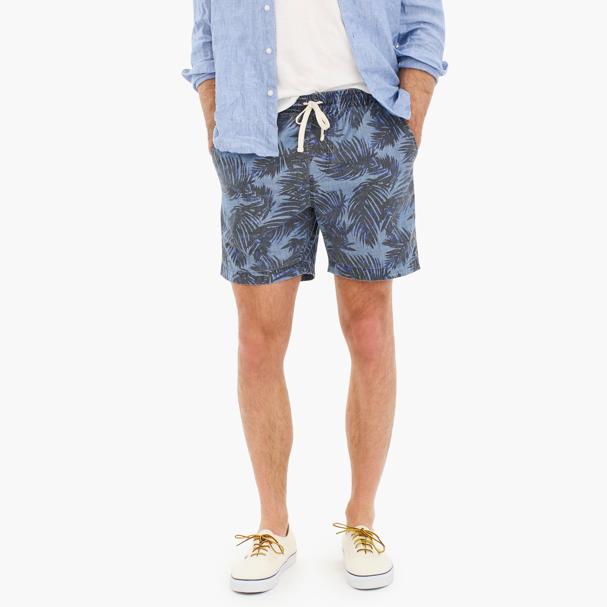 mens Dock short in indigo palm print