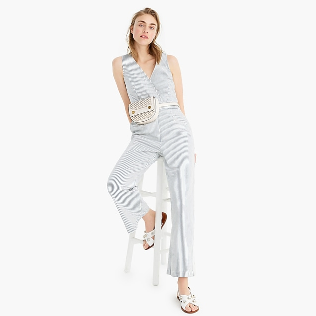 baab2b88641 point sur wide-leg tailored jumpsuit in denim railroad stripe   women  casual