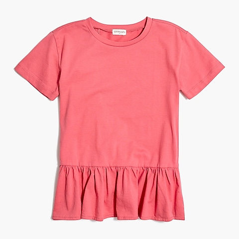 factory girls Girls' ruffle-back peplum T-shirt