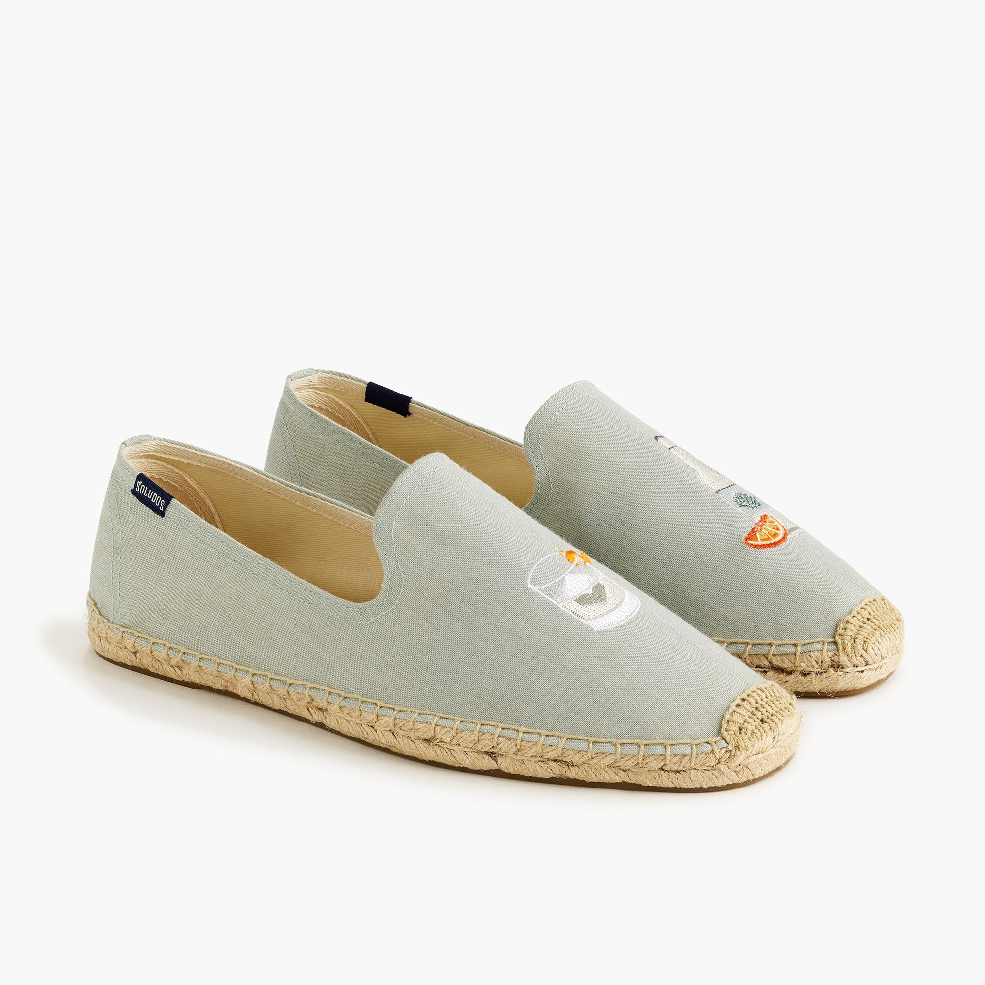 mens Soludos canvas smoking slipper in chambray