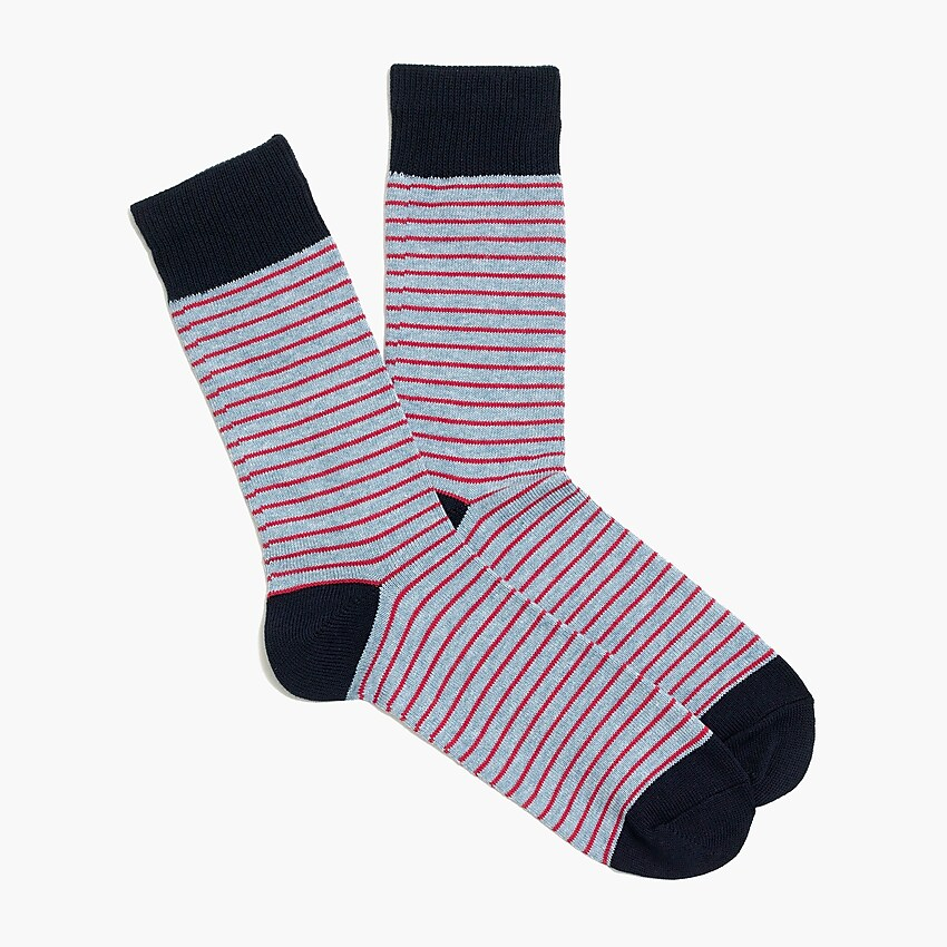 j.crew factory: tipped microstripe socks for men, right side, view zoomed