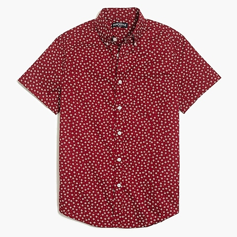 factory mens Floral printed slim flex casual short sleeve shirt
