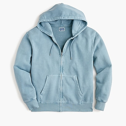 bed0bb8bd9d4 mens Garment-dyed French terry full-zip hoodie