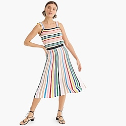 Petite pull-on flare skirt in rainbow stripe