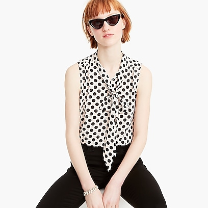 676c3ce60a6adf womens Drapey tie-neck sleeveless top in polka-dot print